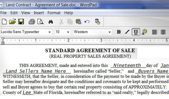 Land Contract Form | About Land Contracts Land Contract Form
